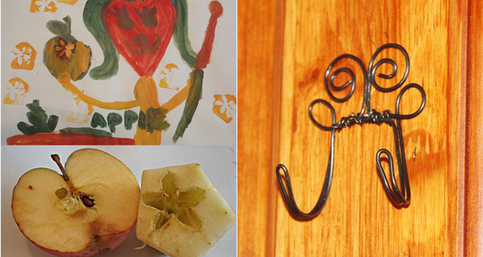Printing with apples kids craft,DIY wire hook