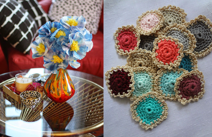 Coffee filter flowers,crocheted lacy squares