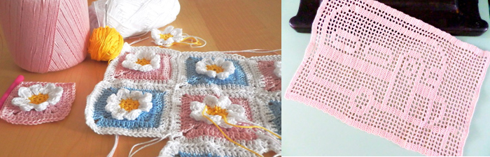 Filet crochet camper,flower crochet blanket