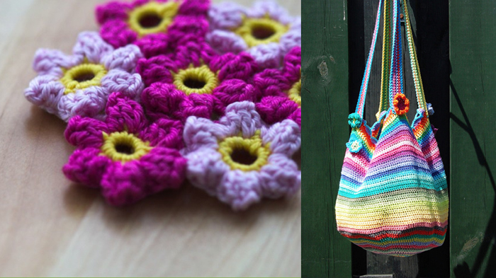 Mollie flower crocheted tutorial,crocheted market bag