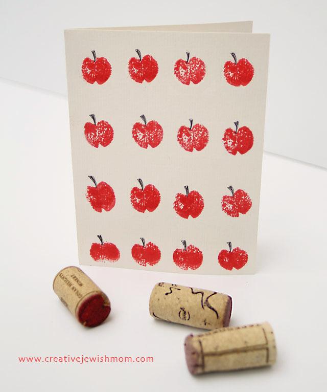Rosh HaShana Craft Wine Cork Apple Stamped Cards