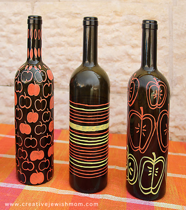 Rosh HaShana Craft Wine Bottle Centerpieces With sketched apples
