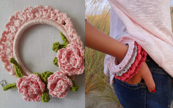 Crocheted bracelets or mini wreats or frames
