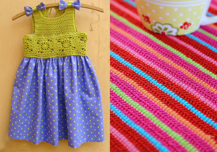 Crocheted top sun dress,striped crocheted placemat