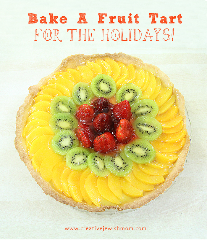 Fruit tart with kiwi strawberries and peaches