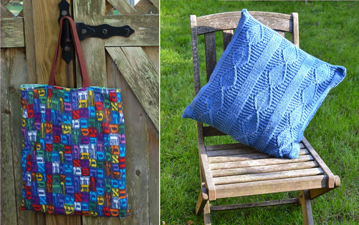 Hebrew school book bag,cable knit pillow cover