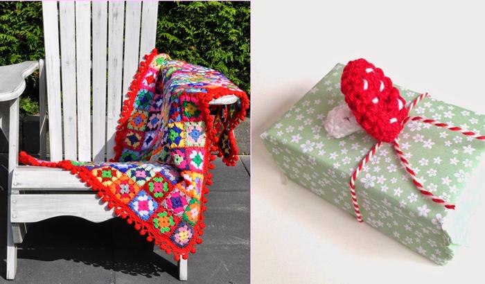 Granny blanket with pom pom border,crocheted mushroom pattern