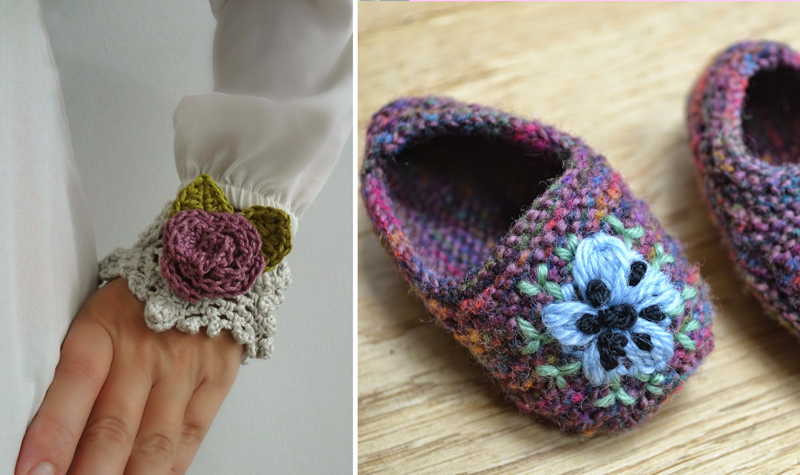 Crocheted wrist flower,knitted embroidered booties