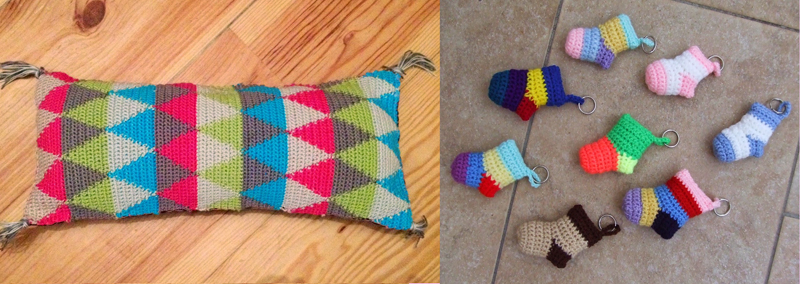 Crocheted diamond tapestry pillow,crochet mini bootie keychains