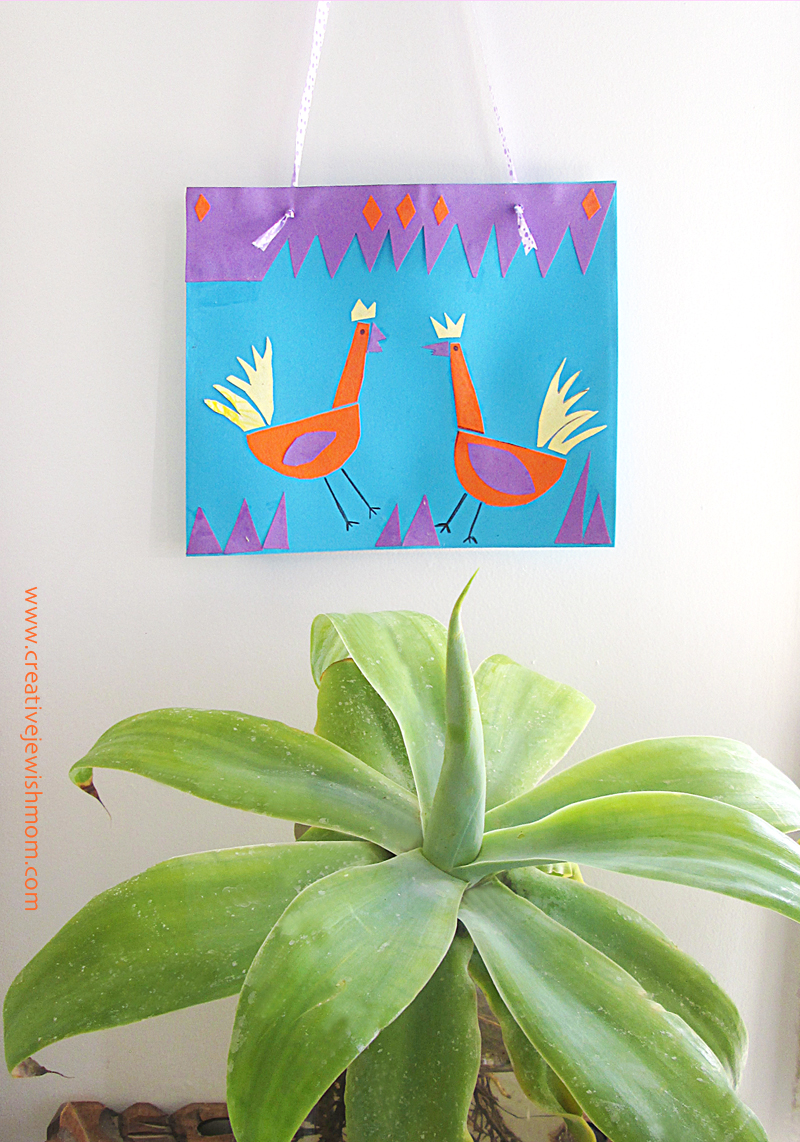 Yom Kippur Cut Paper Roosters Craft for kids