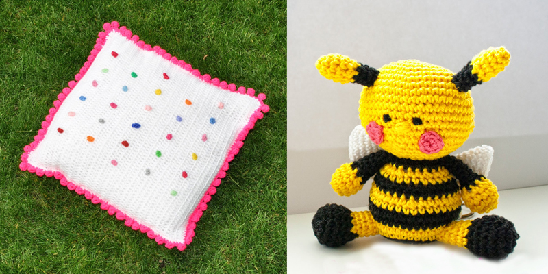 Crocheted bee,polka dot crochet pillow