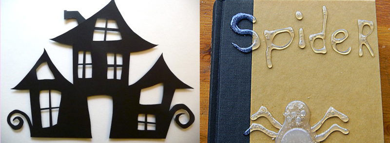 Writing with hot glue,cut paper haunted house
