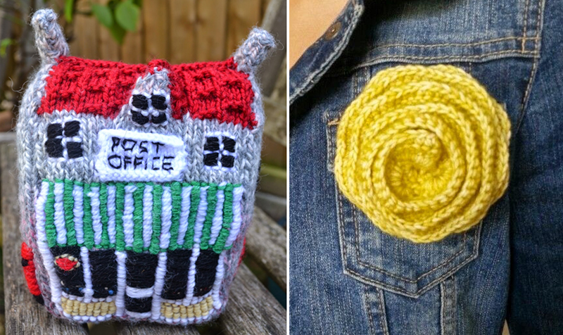 Knit post office,crocheted flower brooch