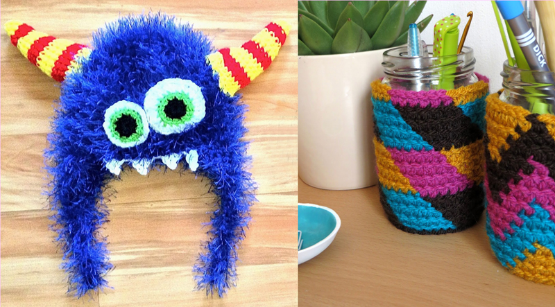 Crocheted monster hat,tapestry crochet jar cover