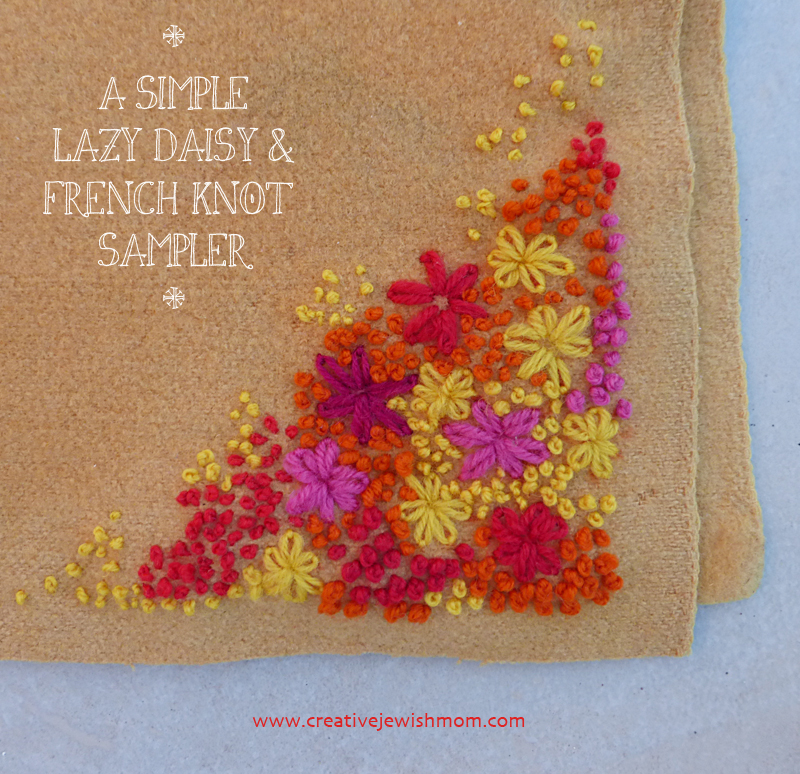 Simple Embroidery lazy daisy french knot sampler