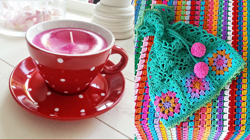 Tea cup candle,granny square crocheted hat