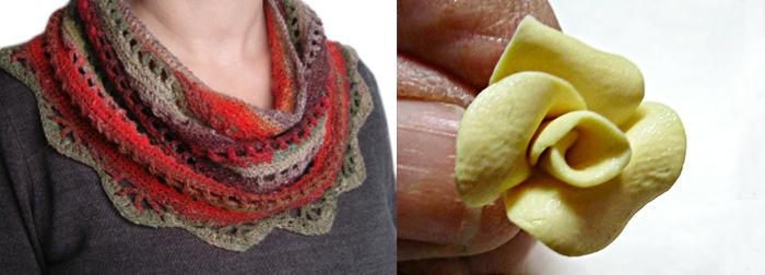 Crocheted scarf,DIY polymer rose