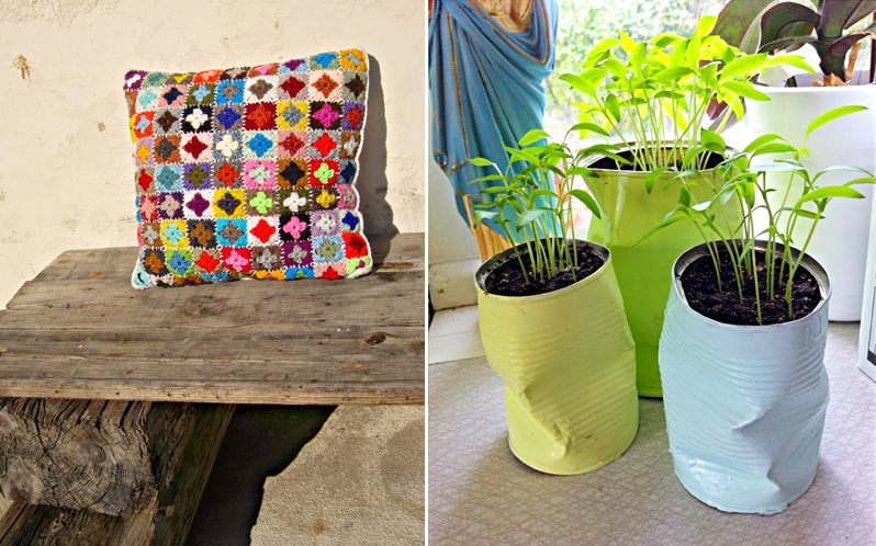 Mini granny pillow,crushed can planters