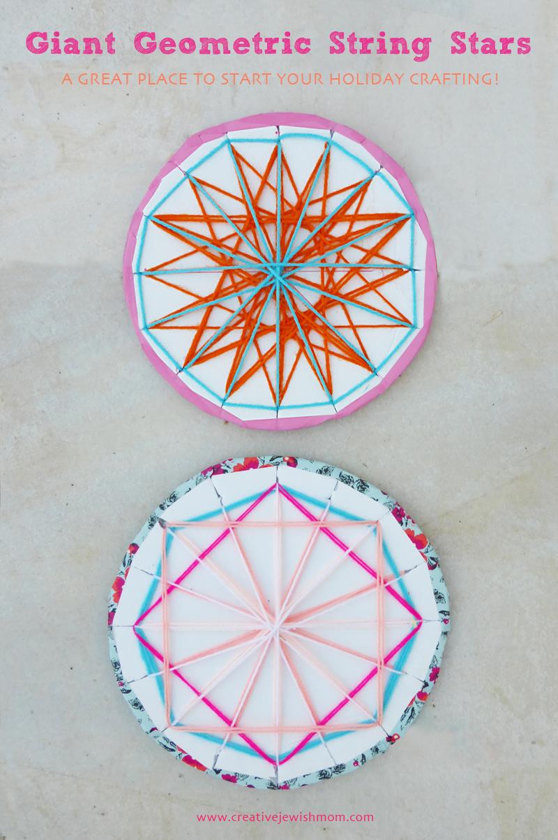 Geometric String Stars for Hanukkah craft