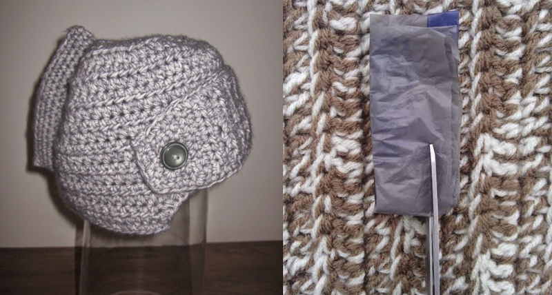 Plarn plastic bag yarn tutorial,crocheted helmet hat