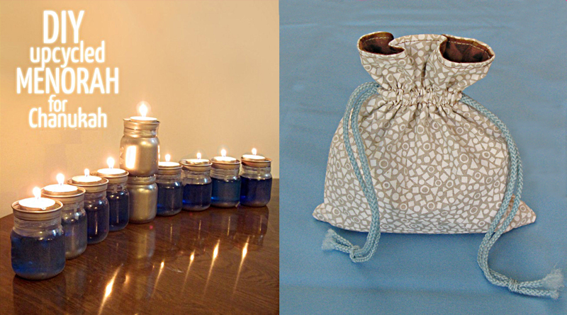 Babyfood jar menorah,sewn gelt bag gift pouch