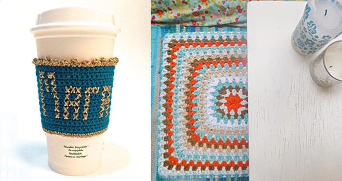 Crocheted granny square stool cover,crocheted coffee cup to go cover with name