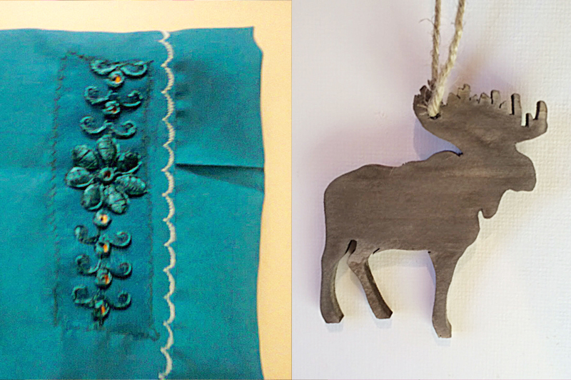 Cuff embroidery,moose wood ornament