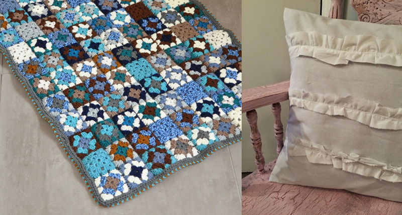 Baby granny square  blanket for a boy,ruffled pillow DIY