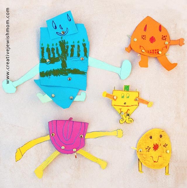 Hanukkah craft for kids dancing dreidels and menorahs