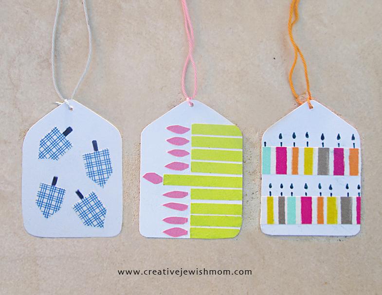 Hanukkah gift tags washi tape craft for kids