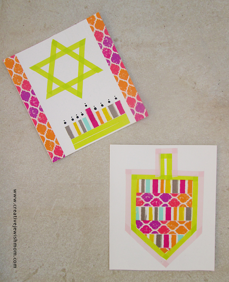 Hanukkah craft washi tape cards