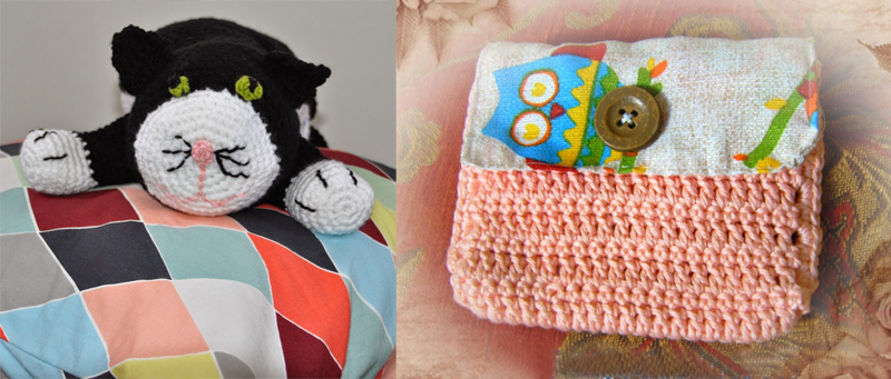 Crocheted cat neck pillow,fabric flap crocheted pouch