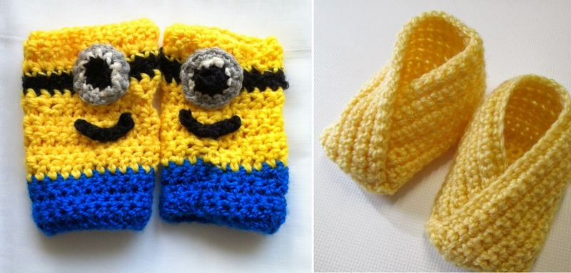 Crocheted minion hand warmers, crocheted one piece booties