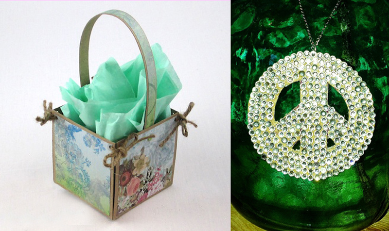 Gift basket,rhinestone peace sign