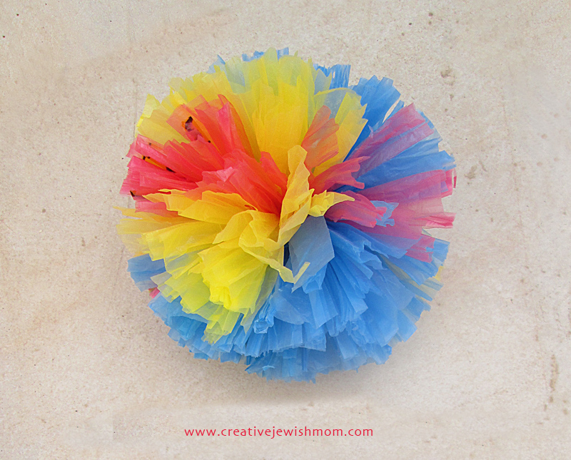 Plastic Bag pom pom with three colors