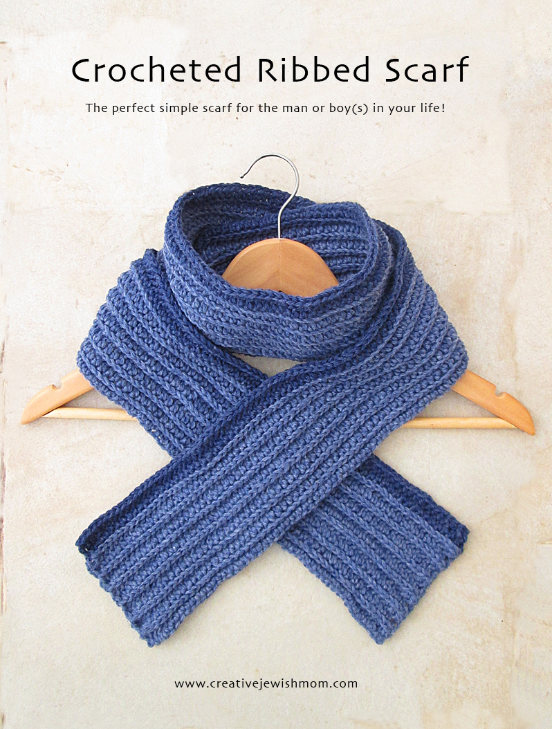 Crocheted half double crochet ribbed scarf