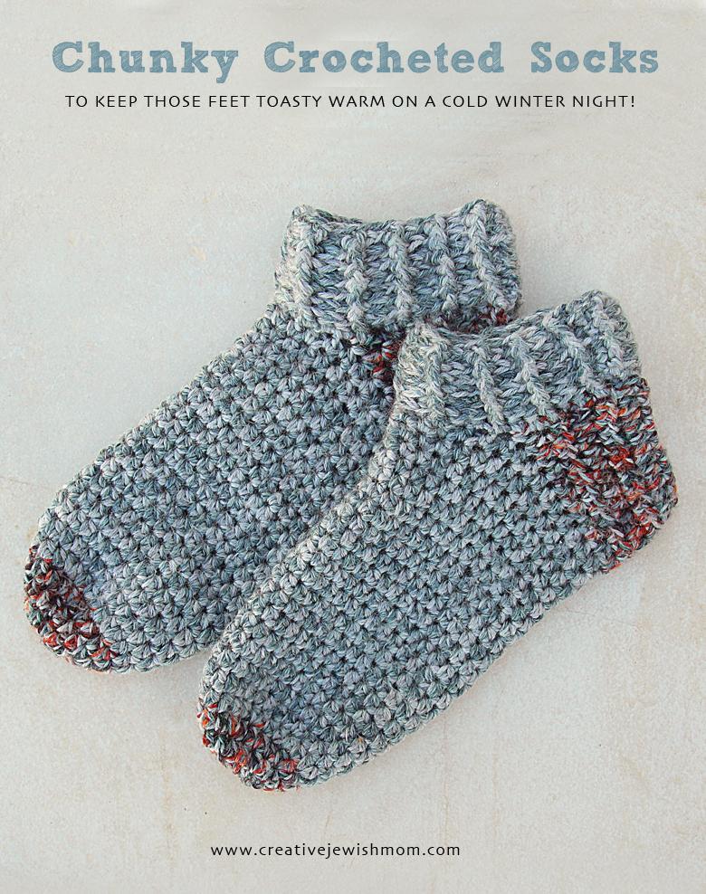 Crocheted chunky socks