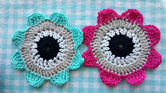 Crochet flowers for coasters etc.