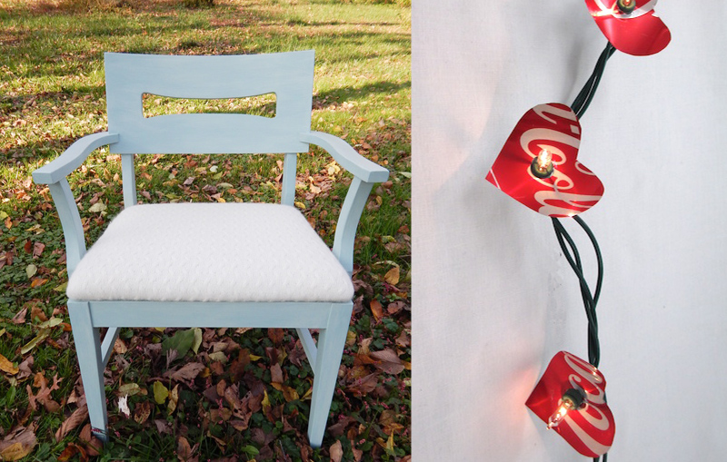 Upcycled sweater chair seat,soda can hearts
