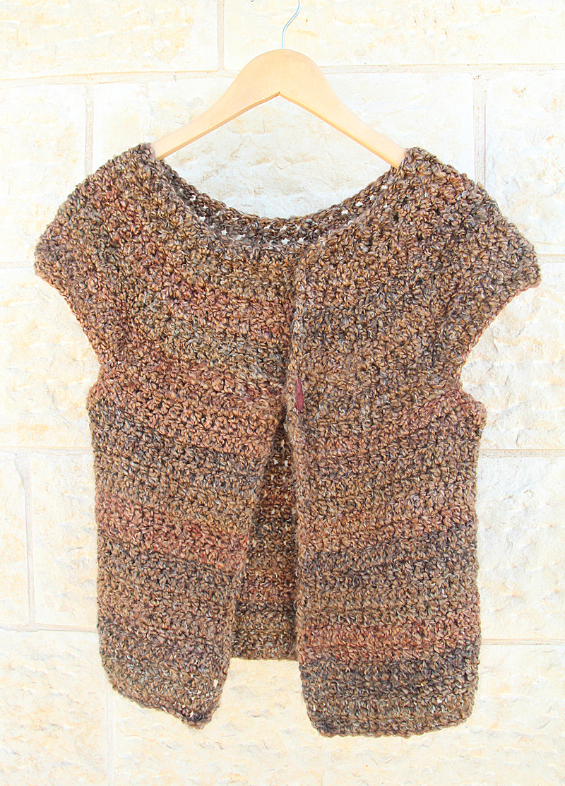 Crocheted Cap Sleeve Cardigan Sweater For Girls Using Lion Brand Homespun