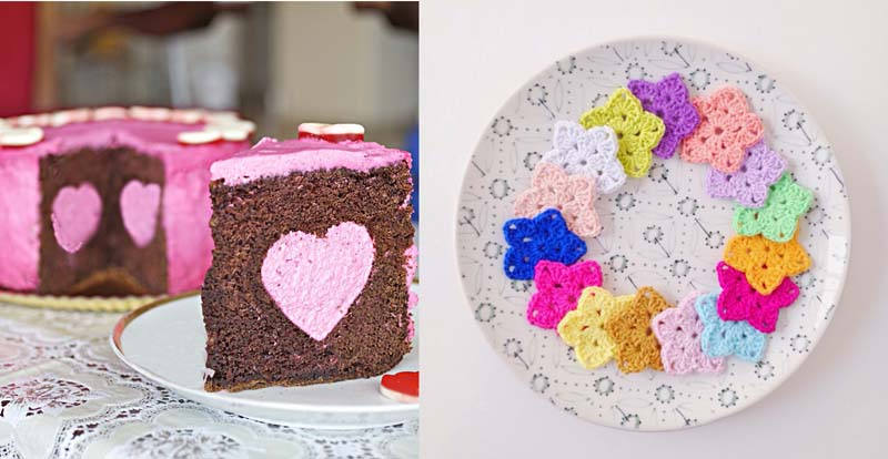 Heart surprise cake,crocheted stars