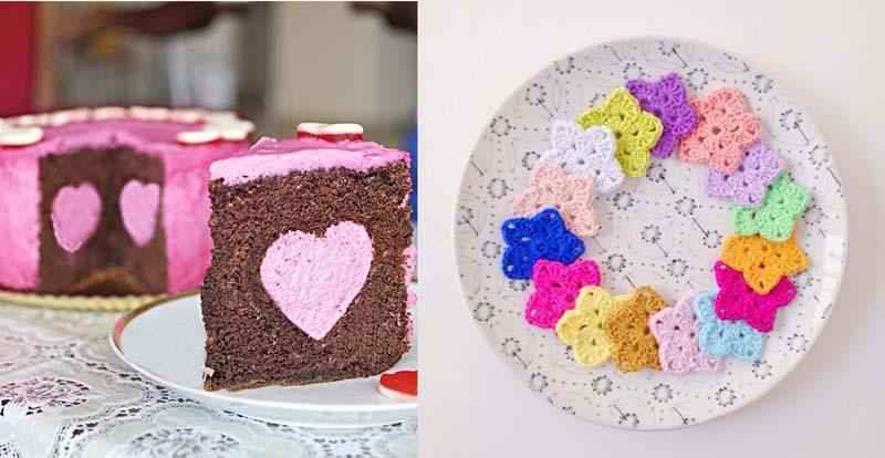 Heart surprise cake,crocheted stars