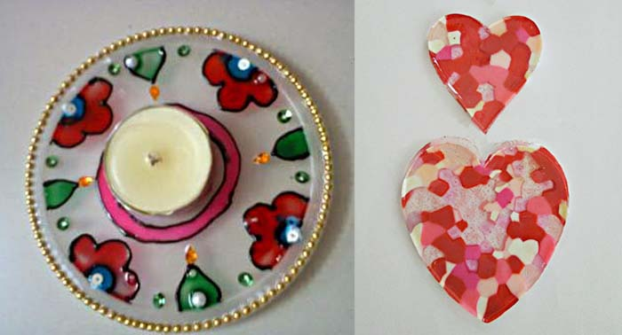Melted bead hearts,painted tea light plate