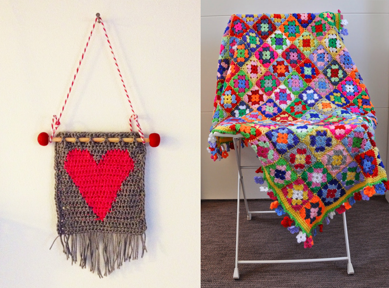 Crocheted heart wall hanging,granny square blanket in lots of colors