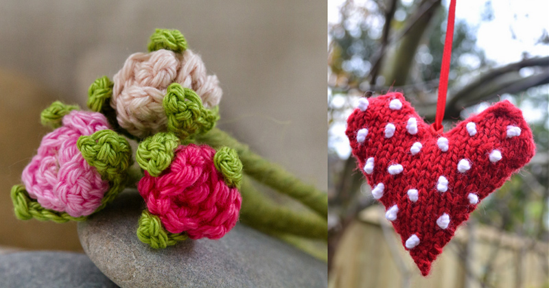 Crocheted tiny flowers,knit heart