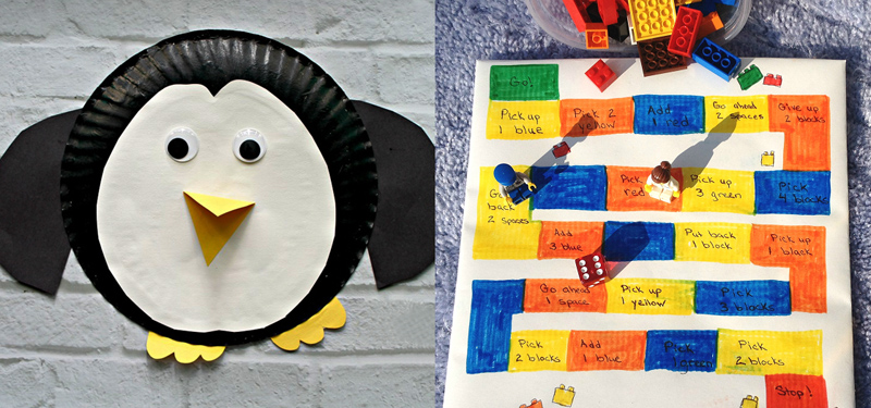 Penguin paper plate craft,DIY lego game