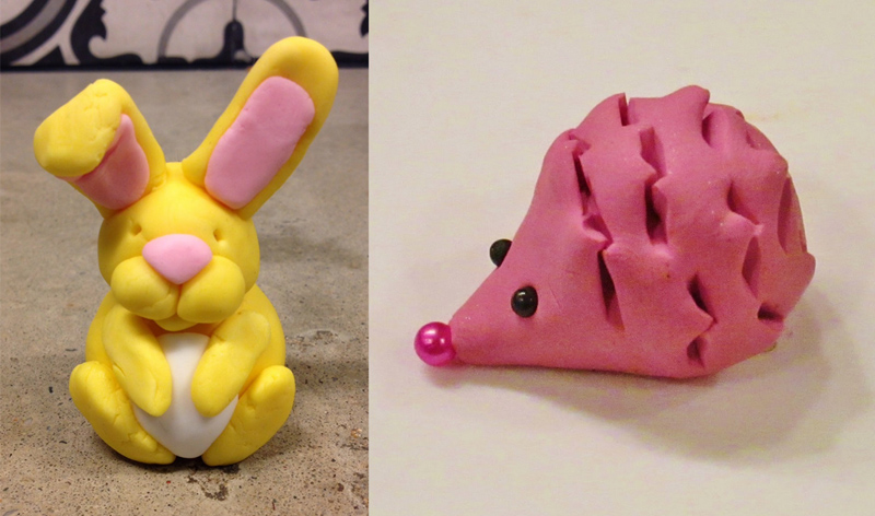 Modeling clay bunny and porcupine