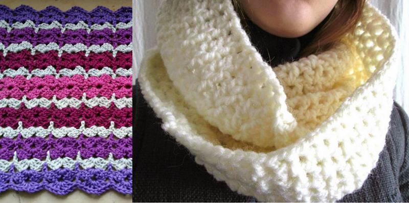 Crocheted cowl, crochet stitch
