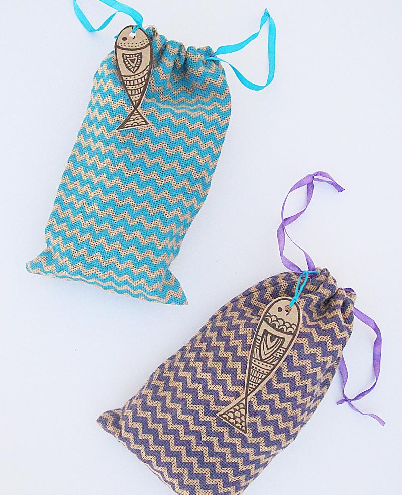 Burlap Drawstring Bags Top View