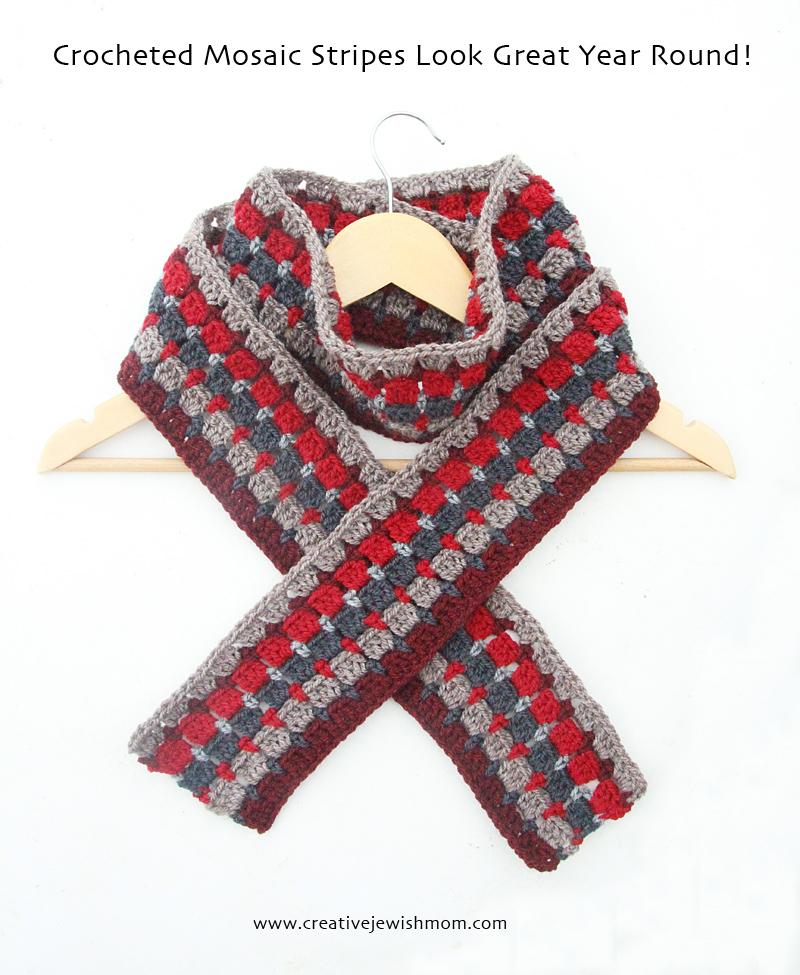 Crochet Mosaic Stripes Scarf